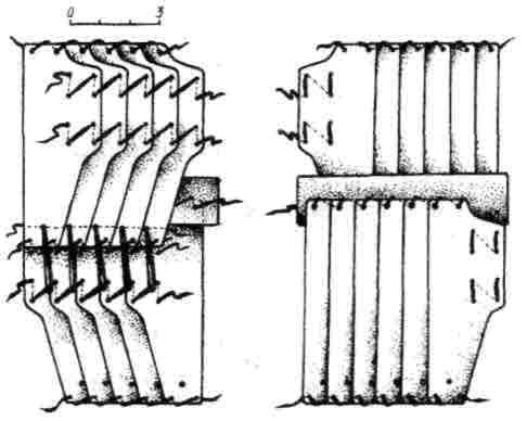 Рис. 9. Схема вязки панцирных пластин типа В. лице-вая и оборотная стороны (реконструкция)