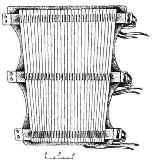 Рис. 12. Схема-развертка поножа шинного типа из Гомельской мастерской (реконструкция).