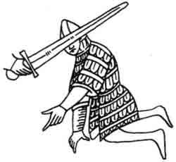 Рис. 13. Воин в яамеллярном доспехе. Миниатюра моравской рукописи. 1212- 1220 гг.