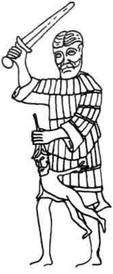 1'ис. 14. Воин в ламеллярном доспехе. Барельеф из Швеци . конец XII — начало XIII в.