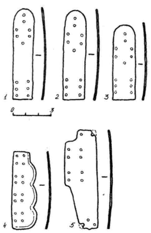Рис. 2. Образцы пластин панцирей ламеллярного набора из Гомельской мастерской начала XIII в.: I—3 — тип А; 4 - тип Б; 5 — тип В.