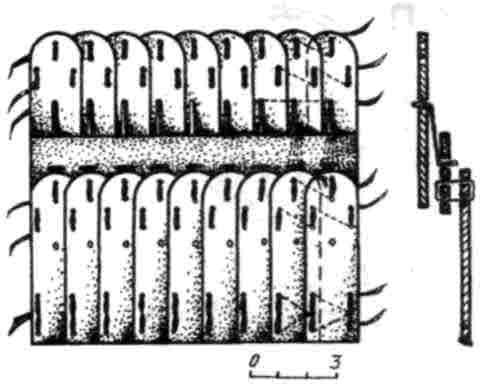 Рис. 3. Схема вязки панцирных пластин типа А (реконструкция).