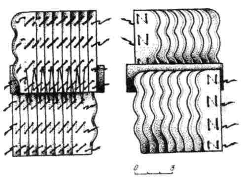 Рис. 8. Схема вязки панцирных пластин типа Б: лице-вая и оборотная стороны (реконструкция)
