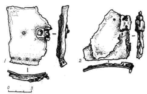 Рис. 10. Обломки .железных трубчатых наручей из Гомельской мастерской (1—2)